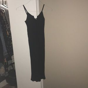 TOPSHOP Ribbed Black Spaghetti Strap Dress. SZ 4.